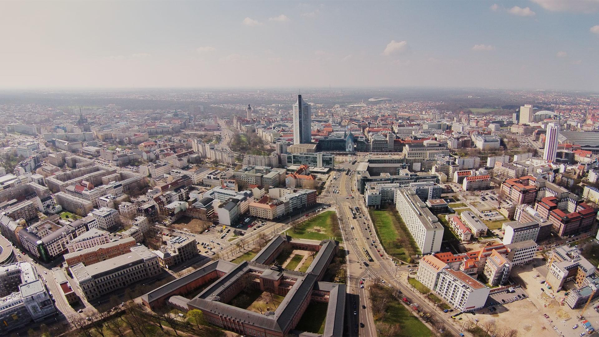 Sachsen Drone Leipzig Skyline